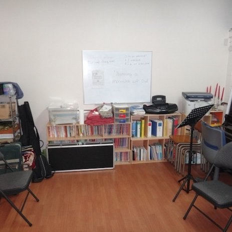 The front of the classroom.