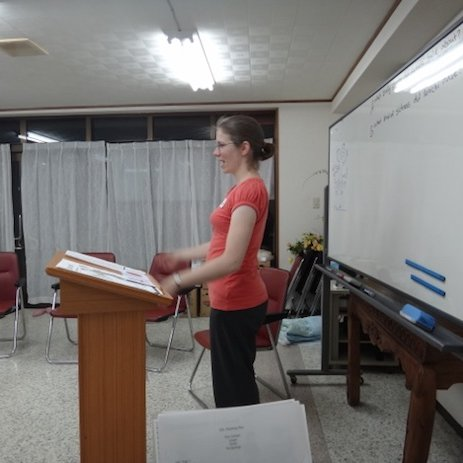Val teaching the class. We were guest teachers at an ESL class.